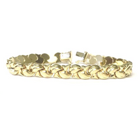 Preowned Yellow Gold Textured Fancy Link Bracelet