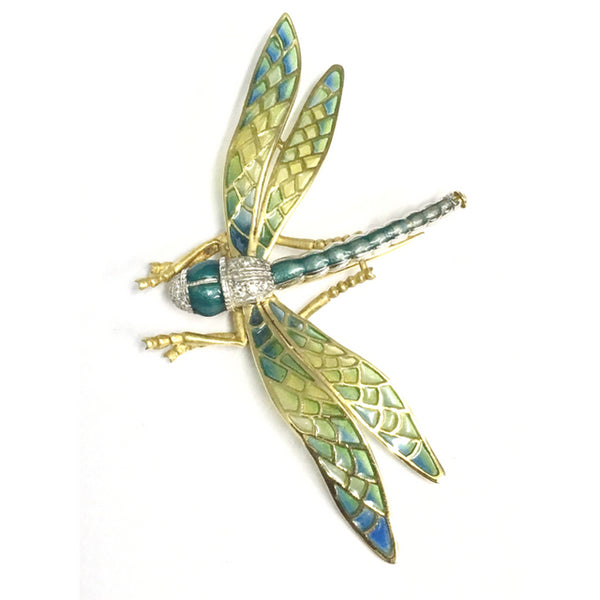 Preowned Yellow Gold Plique-à-jour Dragonfly Brooch