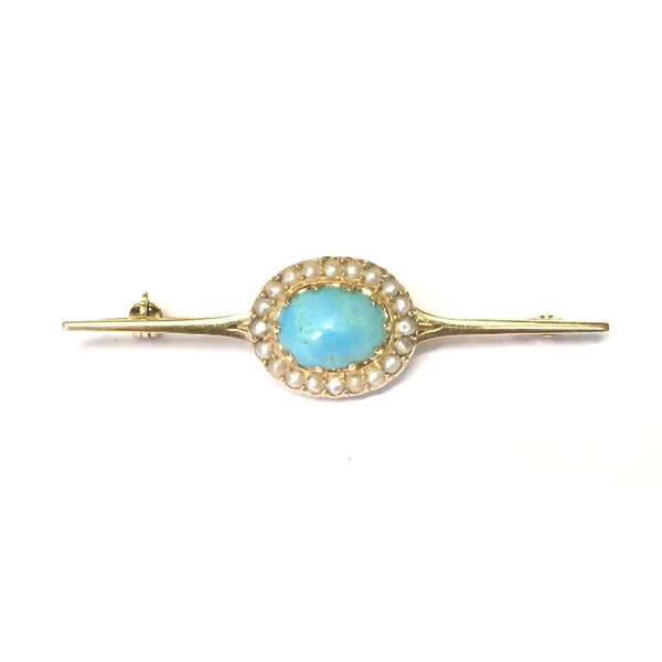 Preowned Yellow Gold Turquoise and Seed Pearl Bar Pin