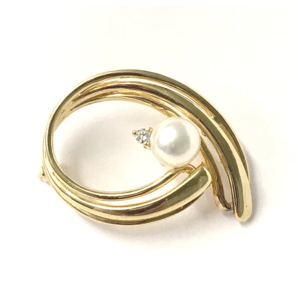 Preowned Yellow Gold Cultured Pearl and Diamond Brooch