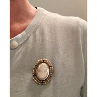Preowned Sterling Silver Shell Cameo and Natural Pearl Trim