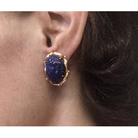Preowned Yellow Gold Carved Lapis Omega-style Earrings