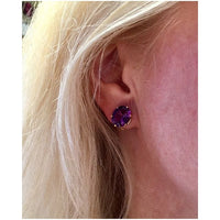 Preowned Yellow Gold Oval Amethyst Earrings
