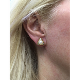 Preowned Yellow Gold Freshwater Cultured Pearl and Diamond Stud Earrings