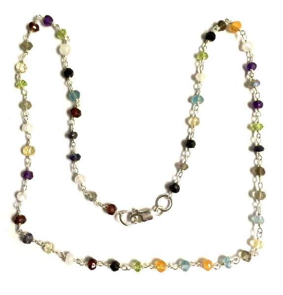 Sterling Silver and Semi-Precious Stone Beaded Chain Necklace