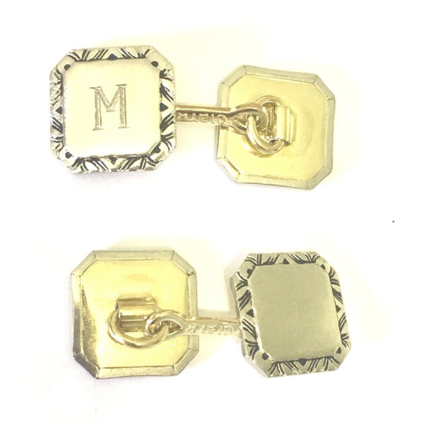 "Preowned Yellow and White Gold Cufflinks ""M"""