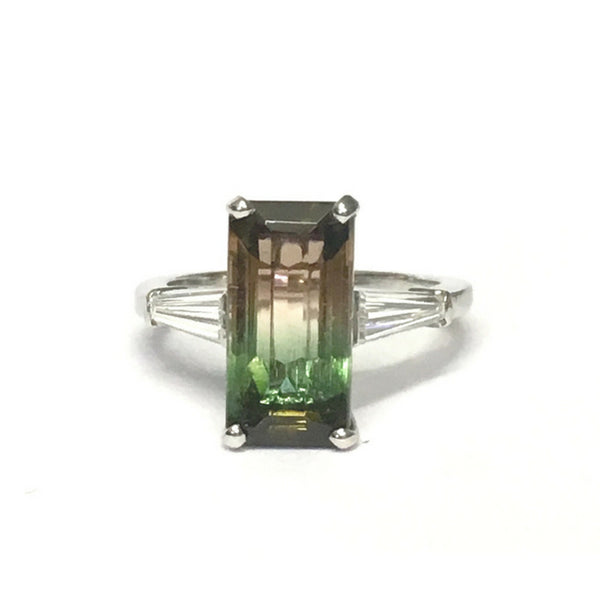 Preowned Platinum Bi-color Tourmaline and Diamond Ring