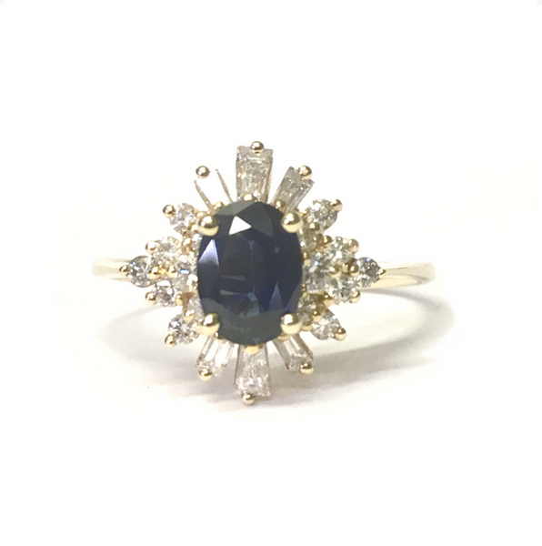 Preowned Yellow Gold Oval Blue Sapphire and Diamond Ring
