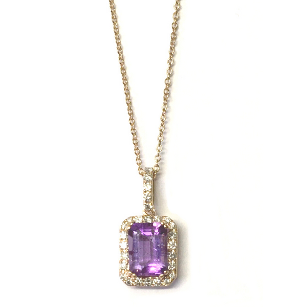 Preowned Rose Gold Amethyst and Diamond Pendant