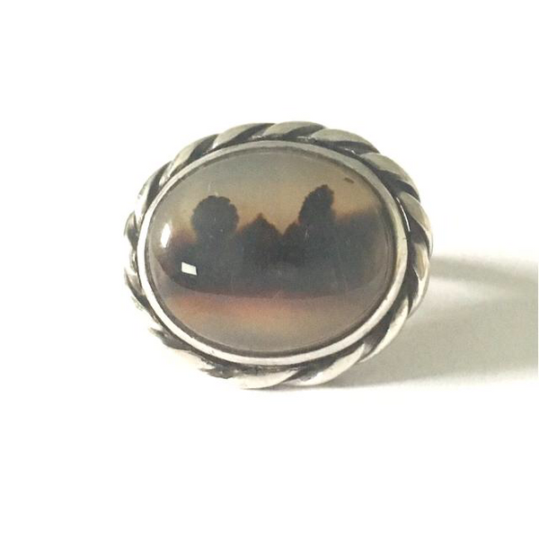 Preowned Sterling Silver Picture Agate Ring