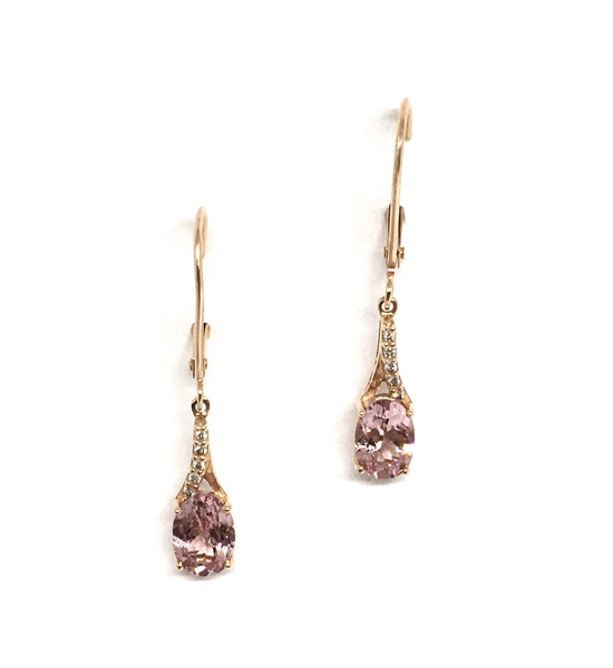 Rose Gold and Lotus Garnet Dangle Earrings