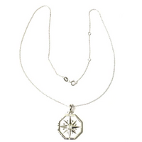 Sterling Silver Large Octagon Compass Rose Pendant