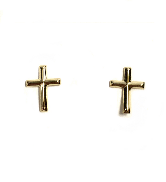 Yellow Gold Cross Stud Earrings