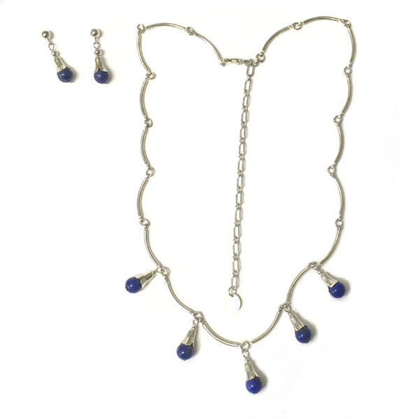 Preowned Sterling Silver Lapis Ball Necklace and Earring Set
