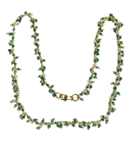 Turquoise and Vermeil Beaded Chain Necklace