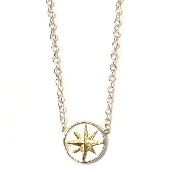 Sterling Silver Mother of Pearl Compass Pendant