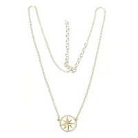 Sterling and Yellow Gold Compass Pendant