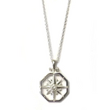 Sterling Silver Small Octagon Compass Rose Pendant