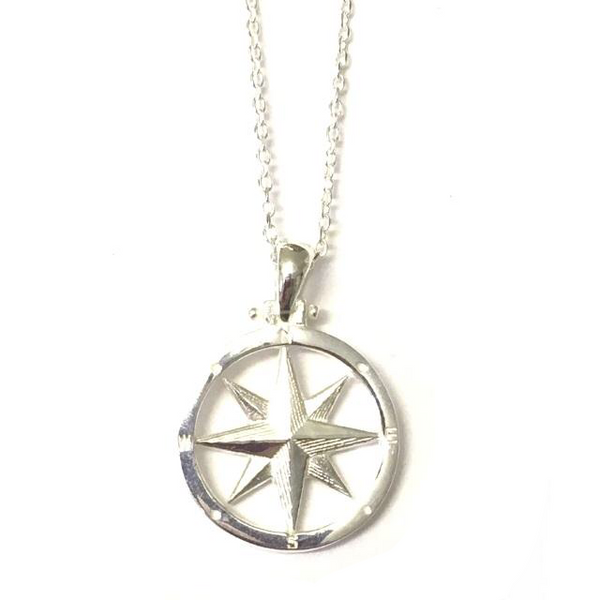 Sterling Silver Small Round Compass Pendant