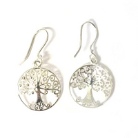 Sterling Large Oak Tree Earrings