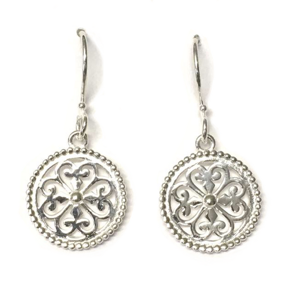 Southern Gates Sterling Small Round Heart Scroll Earrings