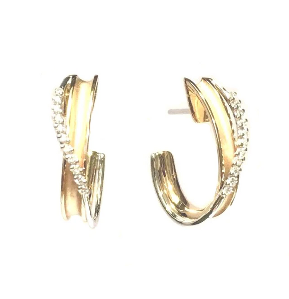 Simon G White and Rose Gold Diamond Hoop Earring