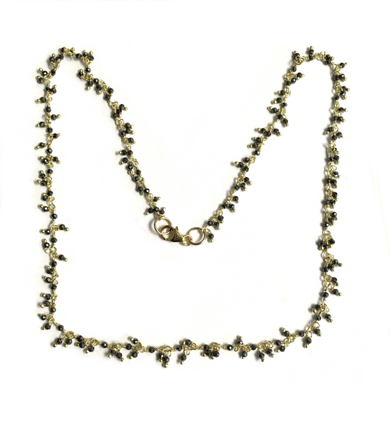 Hematite and Vermeil Beaded Chain Necklace