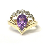 Preowned Yellow Gold Amethyst and Diamond Ring