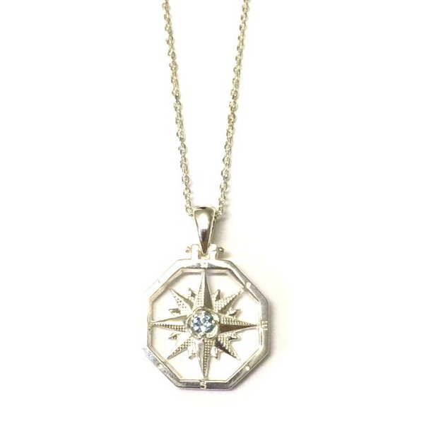 Sterling Silver Aqua Octagon Compass Rose Pendant