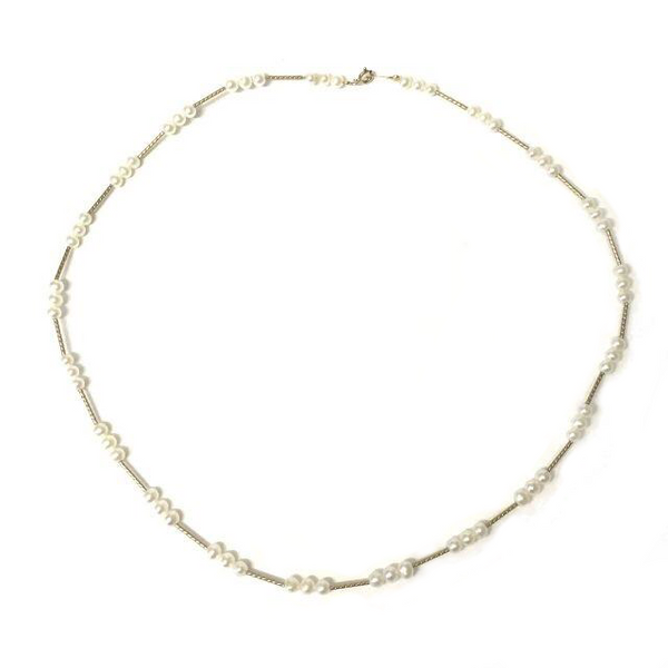 Preowned Yellow Gold Freshwater Cultured Pearl Twist Necklace