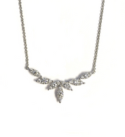 White Gold Diamond Navette Bar Necklace