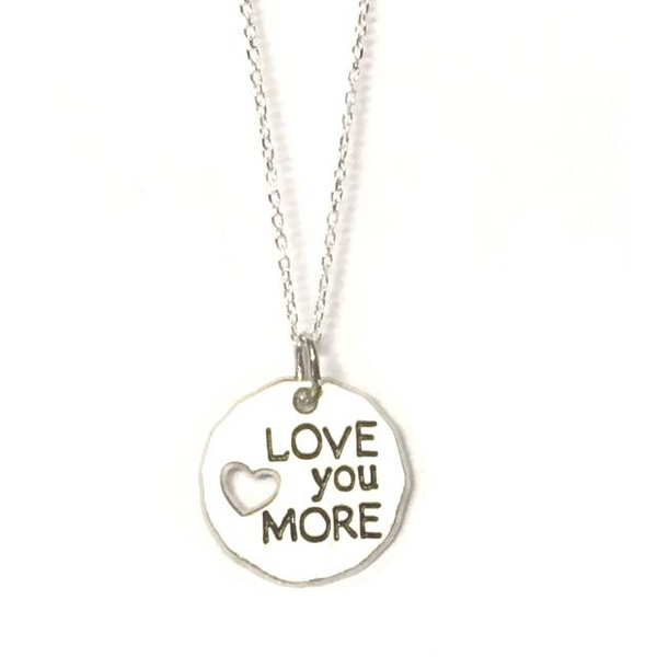 "Sterling Silver ""Love You More"" Charm Necklace"