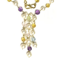 Preowned Yellow Gold Multi-Stone and Pearl Necklace