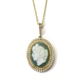 Preowned Yellow Gold Green Cameo and Seed Pearl Circa 1900