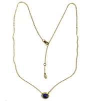 Yellow Gold and Black Opal Doublet Oval Necklace