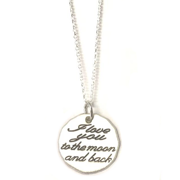 "Sterling Silver ""I Love You to the Moon and Back"" Charm Necklace"