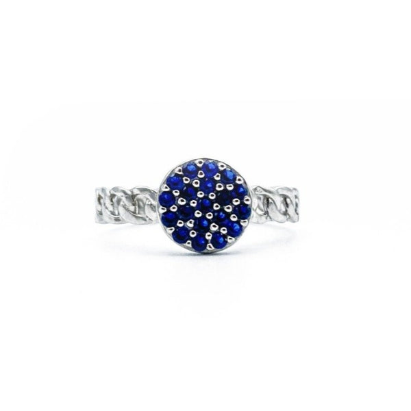 Round Blue Micro Stone Adjustable Ring