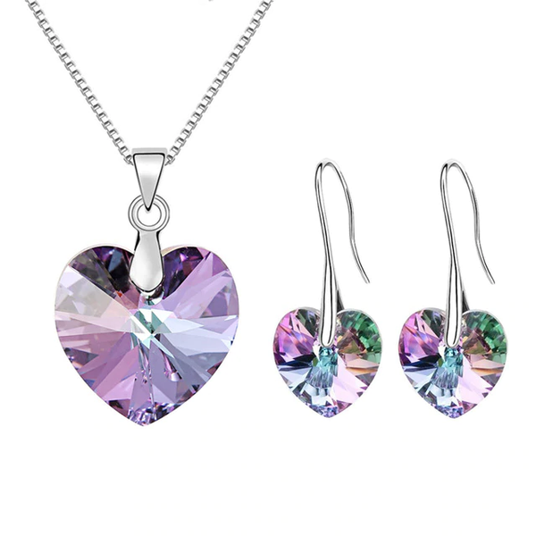 Original Crystals From Swarovski Heart Pendant Necklaces Drop Earrings Jewelry Sets For Women