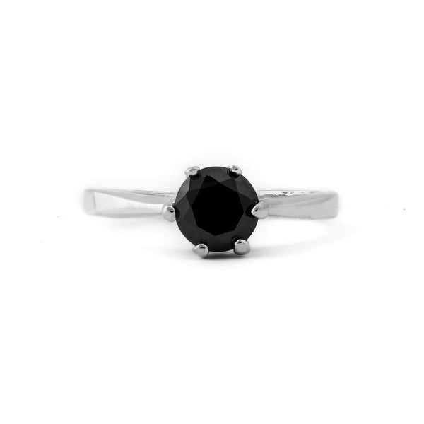 Black Diamond Stone Sterling Silver Ring