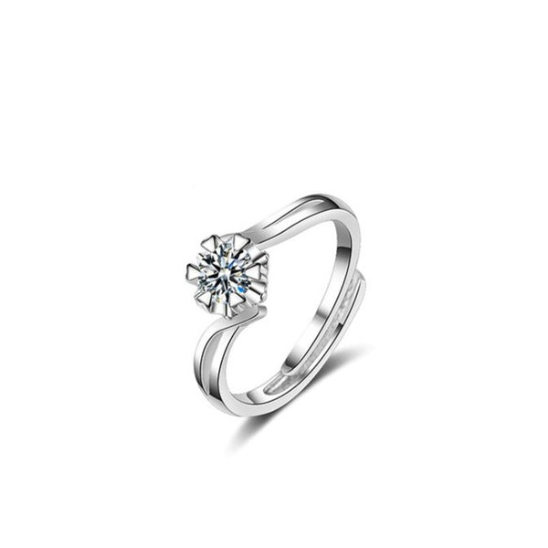Crystal Zircon Flower Open Ring Size Adjustable Ring