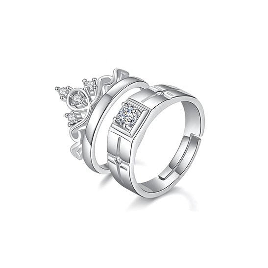 Crystal Crown Shape Couple Adjustable Rings