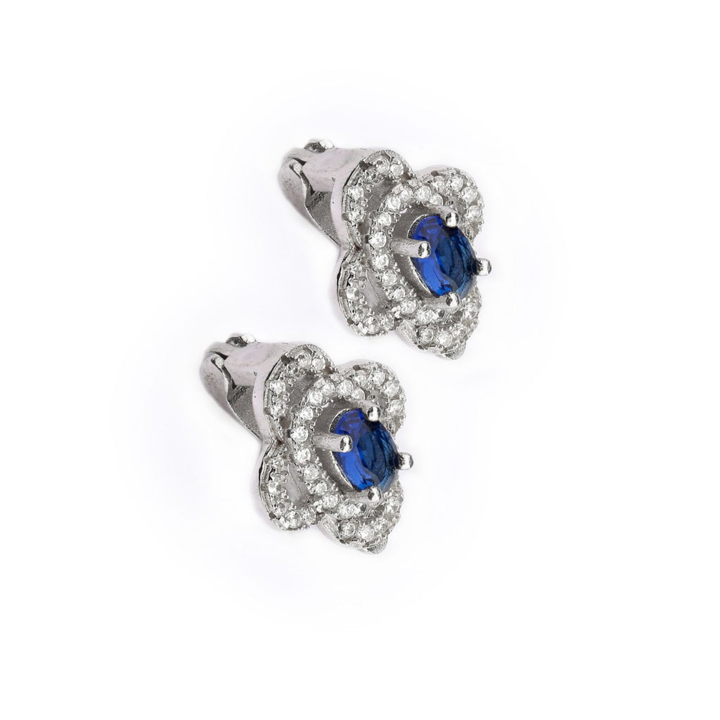 Four Leaf Clover With Blue Stone Sterling Silver Earring