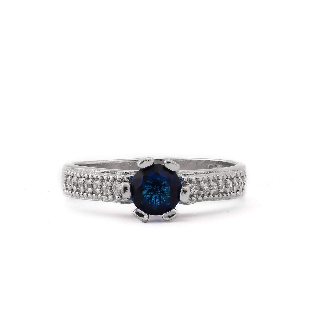 Blue Stone With Microstone Band Sterling Silver Ring