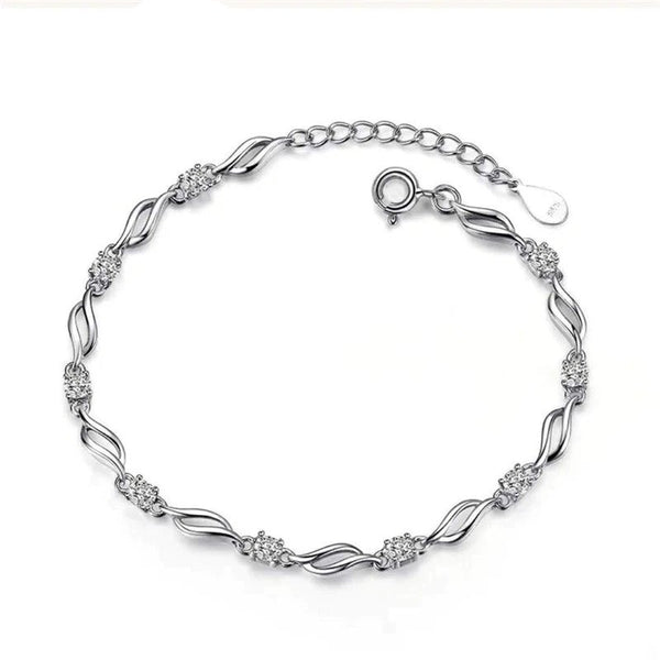 Silver Charm Curly Bracelet