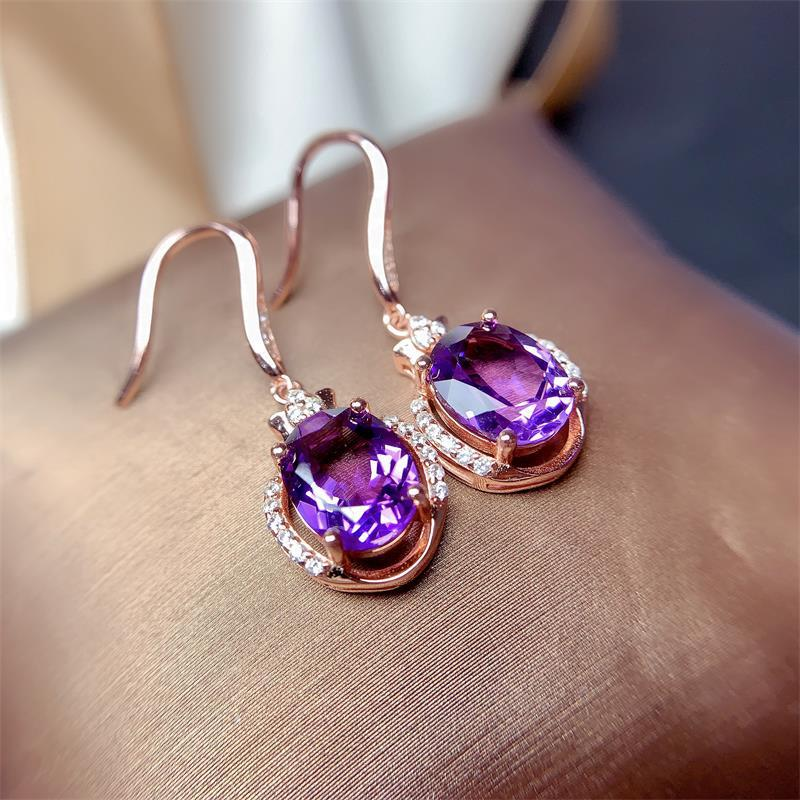 Elegant Purple Amethyst Drop Earrings