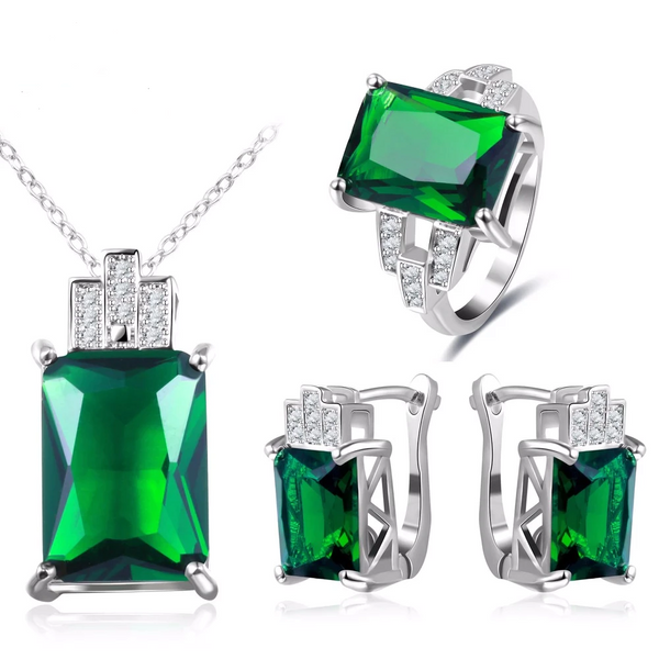 925 Sterling Silver Jewelry Green Stone CZ Wedding Sets Earring Necklace Ring