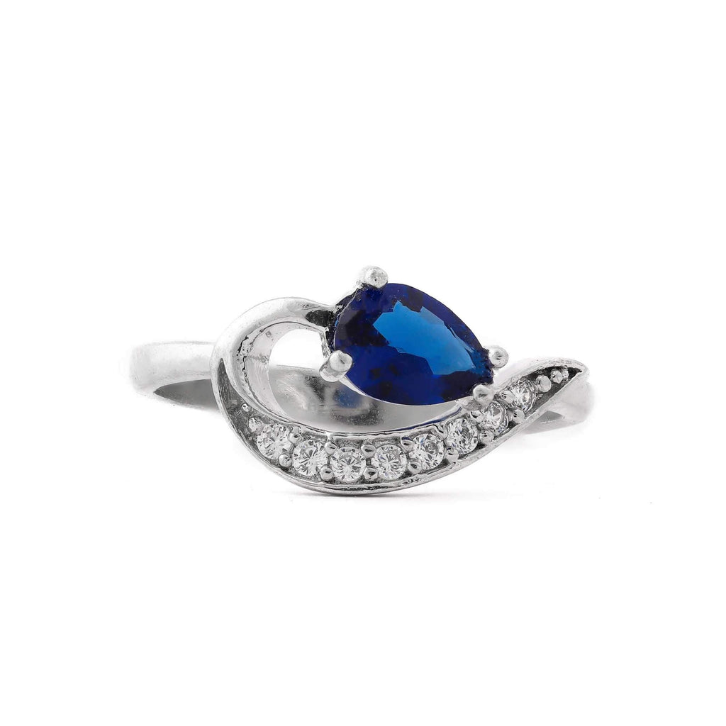 Blue Spade Stone With Microstone Stem Sterling Silver Ring