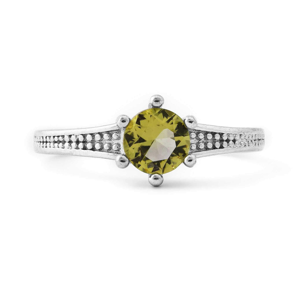 Yellow Star Stone Sterling Silver Ring