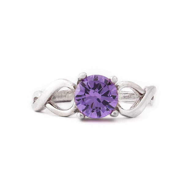 Lavender Stone With Swirly Band Sterling Silver Ring