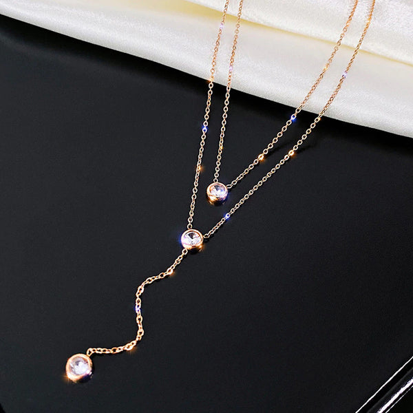 Silver O-Chain Necklace Rose Gold Zircon Fashion Necklace